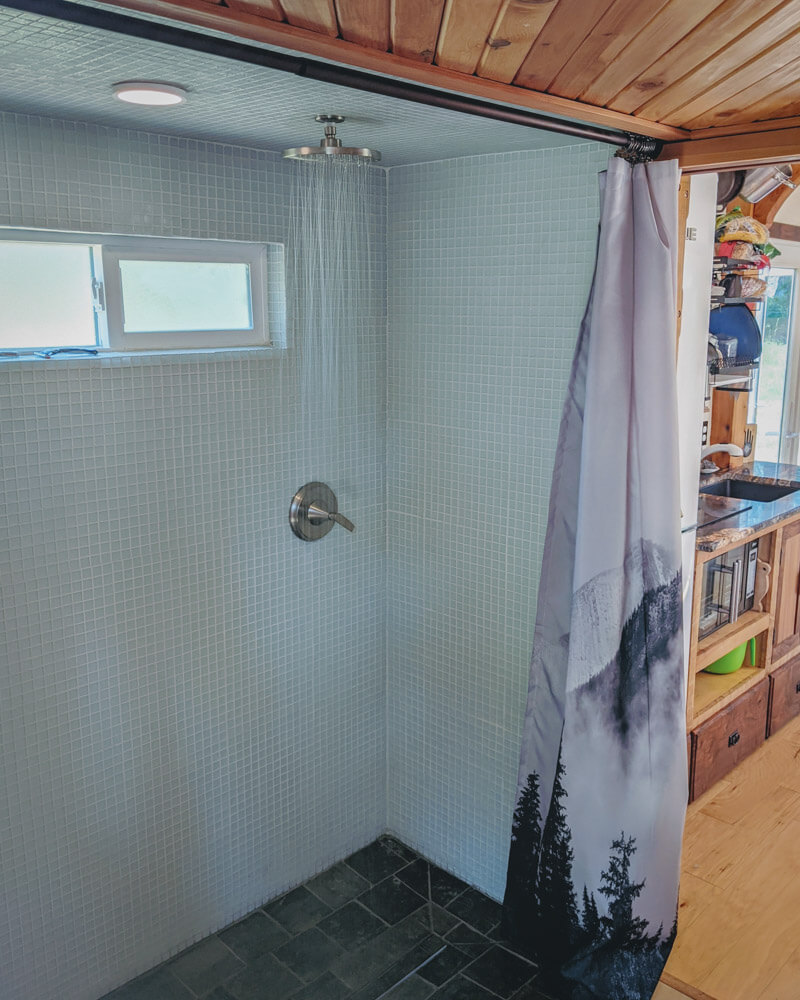 Timber Frame Tiny House on Wheels, The Large Walk-in Shower