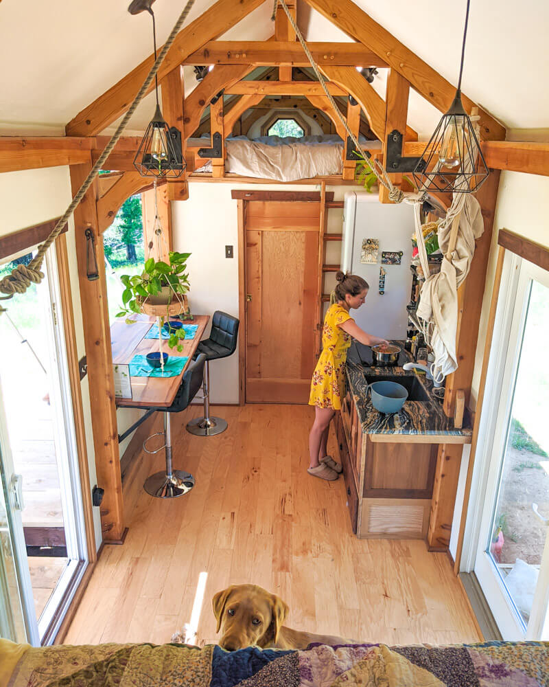 Timber Frame Tiny House on Wheels, Whiskey Giving Edwin the sad puppy eyes while Clara makes lunch in the kitchen