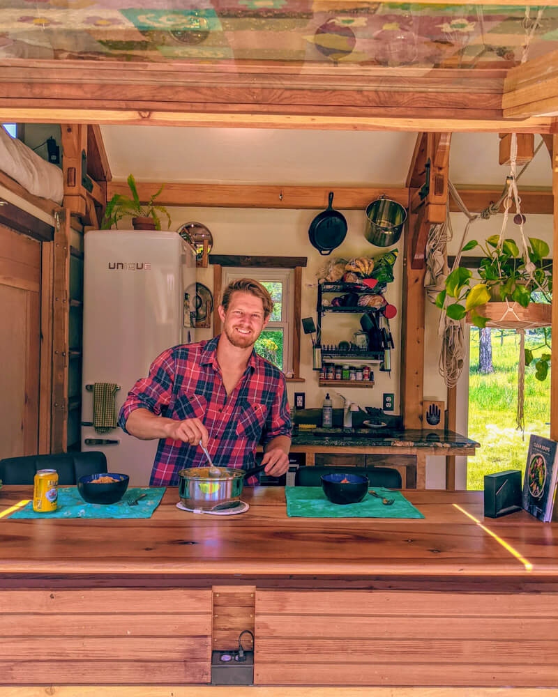 Timber Frame Tiny House on Wheels, Edwin Serving up lunch at the bar area